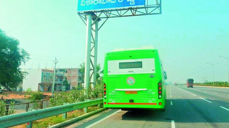 TSRTC's electric bus was fined for parking at a wrong place on Outer Ring Road on Thursday.