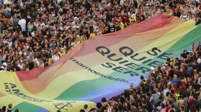 European cities celebrated LGBTQ pride on Saturday with colorful parades. (Photo: AP/Manu Fernandez)