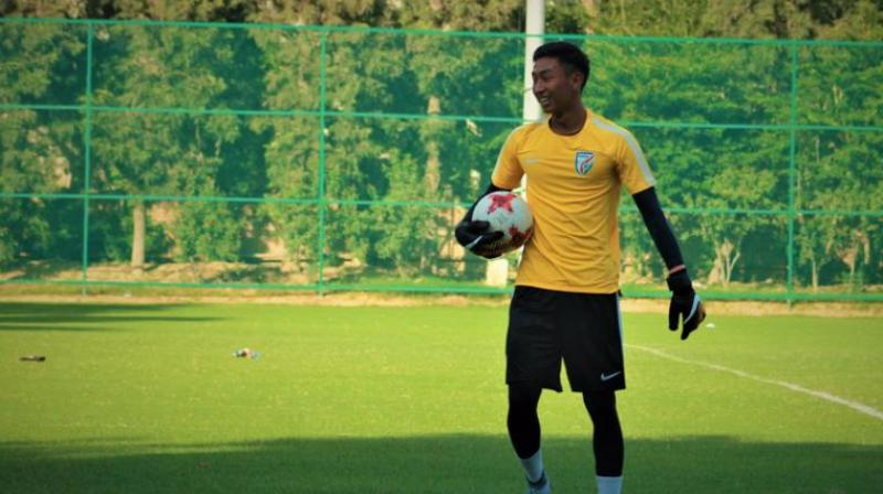The Indian defence was left to deal with most of the danger, while goalie Dheeraj Singh's safe hands kept Yemen at bay. (Photo: Twitter)
