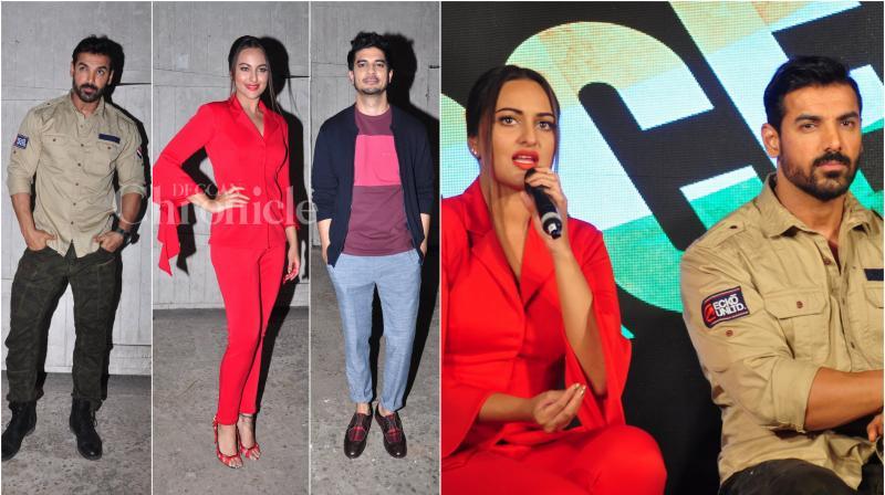 On Friday, John Abraham, Sonakshi Sinha and Tahir Raj Bhasin released their film 'Force 2's new song 'Rang Laal' in Mumbai. (Photo: Viral Bhayani)