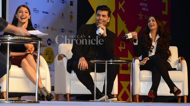 On Saturday, Karan along with his lovely ladies, Aishwarya and Anushka attended a press conference at MAMI festival where the team spoke about their film 'Ae Dil Hai Mushkil'. (Photo: Viral Bhayani)