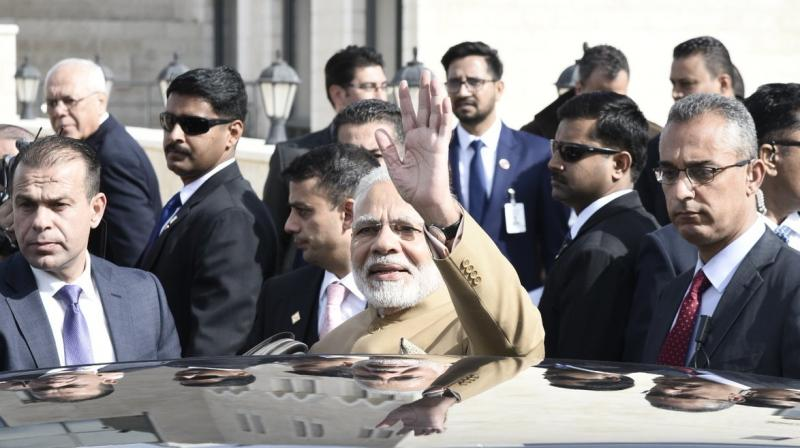 Narendra Modi, the first Indian Prime Minister to visit Palestine, has reached Ramallah amid heightened tensions in the region after US President Donald Trump recognised Jerusalem as the capital of Israel. (Photo: Twitter | @narendramodi)