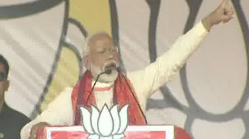The Prime Minister also accused the alliance of pushing the state in the direction of naxalism. (Photo: ANI twitter)