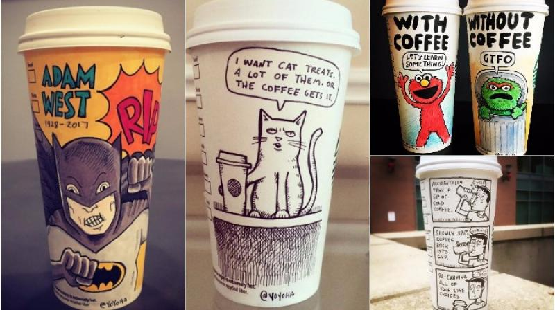 Josh Hara creations on coffee cups (Photo: Facebook/ Instagram)