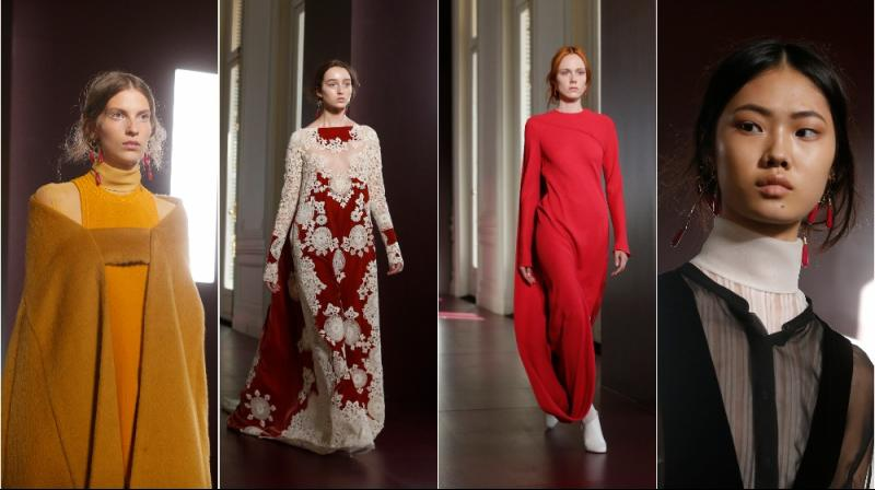 Models wearing Valentino at Fall/Winter 2017/2018 fashion collection showcasing (Photo: AP)