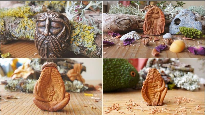 Inspired by Celtic folklore, Jan Campbell creates beautiful pieces of artwork using only avocado pips (Photo: Facebook/ Jan Campbell, Avocado Stone Faces)