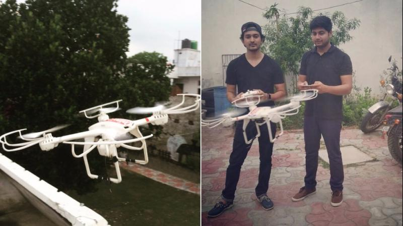 The drone that Onlinekaka ordered and Arshad and Bilal testing the drone