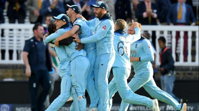 The teams scored 15 runs each in the Super Over, but England won courtesy of scoring more boundaries in regulation play. (Photo: Cricket World Cup/Twitter)