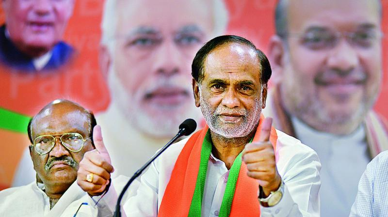 BJP state president K. Laxman at a press conference on exit polls at the state BJP office in Nampally.  (DC)