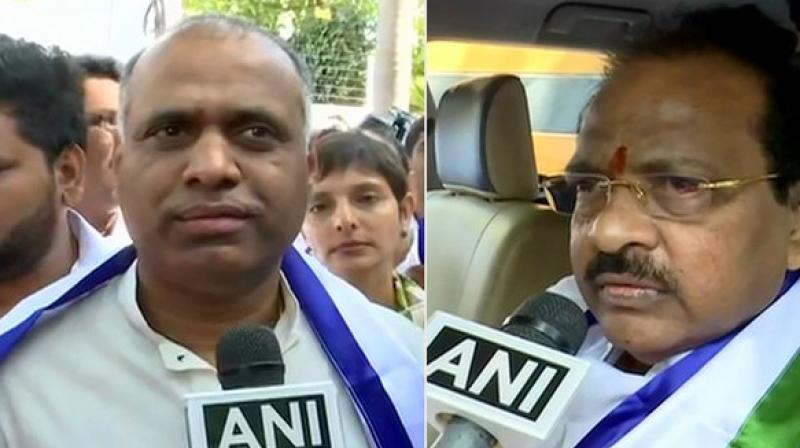 Earlier in the day, entrepreneur and popular film producer P Vara Prasad (PVP) joined YSRCP.  (Image: ANI)