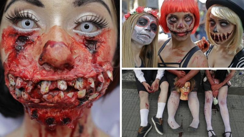 The participants are commemorating the day of the dead in Brazil. (Photo: AP)