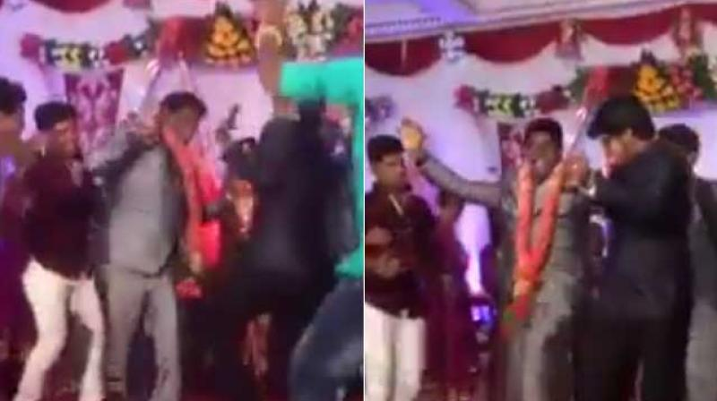 The Clip Shows Groom Enthusiastically Dancing With His Friends Onstage Even As Other Wedding Guests