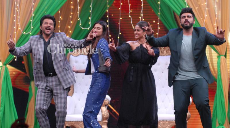 The team of the upcoming comedy 'Mubarakan' made an appearance on the reality show 'Sabse Bada Kalakar', where they had a gala time on Thursday in Mumbai. (Photo: Viral Bhayani)