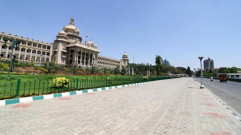 The normal tourist throng at the Vidhana Soudha boulevard was missing as the Karnataka government ordered a statewide shutdown to contain the spread of the coronavirus on Saturday. The shutdown is to last for seven days. The Covid-19 virus took its first Indian victim in Kalaburagi in Karnataka last Tuesday. (Photo: Satish B.)