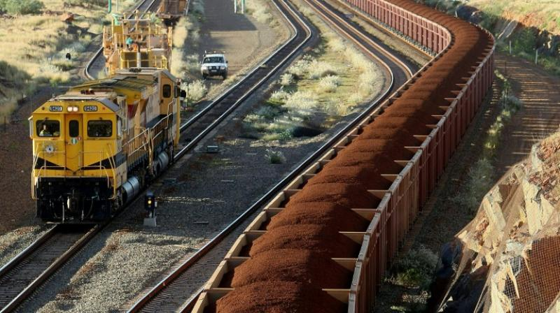 Mining giant BHP, which owns the four-locomotive train, decided to derail before it reached the town of Port Hedland near its Western Australia Pilbara site, and flicked the points. (Photo: AFP)