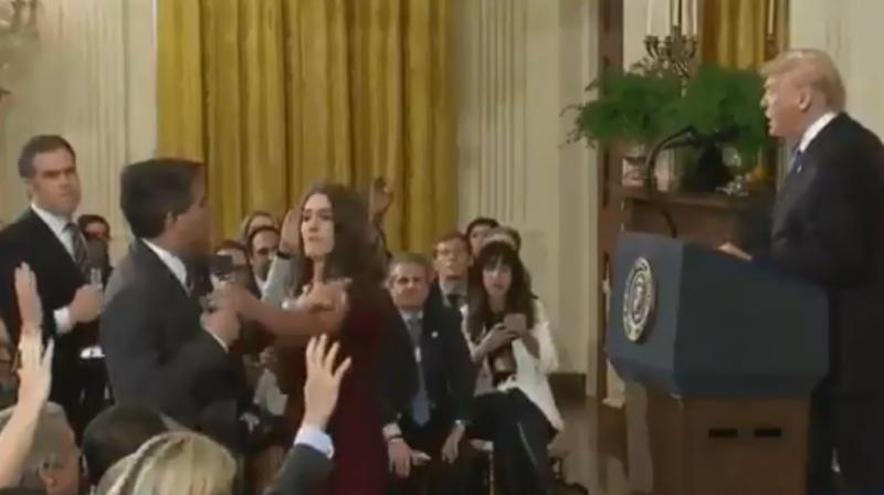Frame-by-frame comparison with an AP video of same incident shows the one tweeted by Sanders appears to have been altered to speed up Acosta's arm movement as he touches the intern's arm, says Abba Shapiro, an independent video producer. (Photo: Twitter Screengrab | @PressSec)