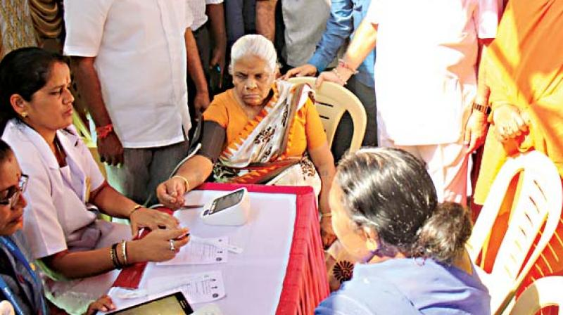 BJP state president B.S. Yeddyurappa at a free health camp organised on former PM A.B. Vajpayee's birth anniversary at Chickpet in the city on Tuesday