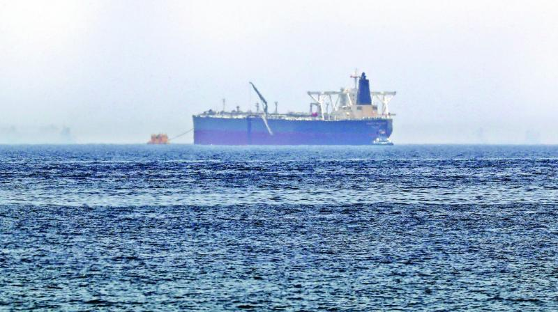 """Crude oil tanker Amjad, which was one of two reported tankers that were damaged  in mysterious """"sabotage attacks"""", off the coast of the Gulf emirate of Fujairah.   (Photo: AFP)"""