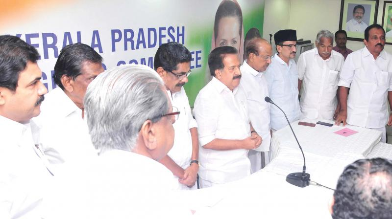 Ramesh ChennithalaUDF leaders pay homage to K.M. Mani ahead of the high-power committee meeting in Thiruvananthapuram on Monday  (Photo: A.V. MUZAFAR)
