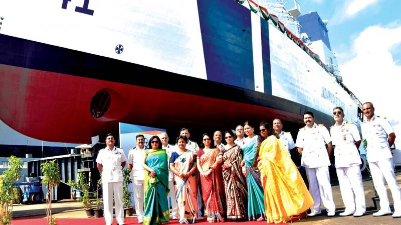 The 4th in the series of 98 M Offshore Patrol Vessels (OPVs) of Indian Coast Guard launched at L&T Kattupalli on Friday in the presence of  Chief Guest IG V D Chafekar, commander, Coast Guard Region (West), Mumbai and senior  dignitaries of the ICG, state Government and L&T. 	(Photo: DC)