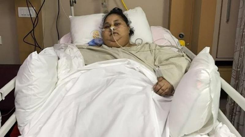 Egyptian national Eman Ahmed Abd El Aty weighed 500 kilogrammes when she arrived in Mumbai but has now reduced almost half her weight. (Photo: AFP)