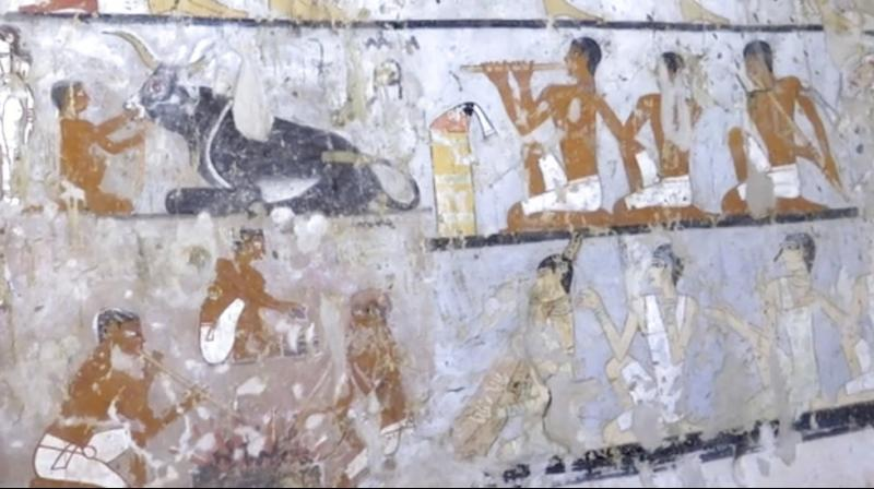 Wall paintings inside a 4,400-year-old tomb near the pyramids outside Cairo, Egypt. Egypt's Antiquities Ministry announced the discovery Saturday and said the tomb likely belonged to a high-ranking official known as Hetpet during the 5th Dynasty of ancient Egypt. The tomb includes wall paintings depicting Hetpet observing different hunting and fishing scenes. (Photo: AP)