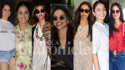 Bollywood divas like Kangana Ranaut, Deepika Padukone, Anushka Sharma, Katrina Kaif, Sonam Kapoor Ahuja, Malaika Arora, Hina Khan and others were snapped in Mumbai. (Photos: Viral Bhayani)