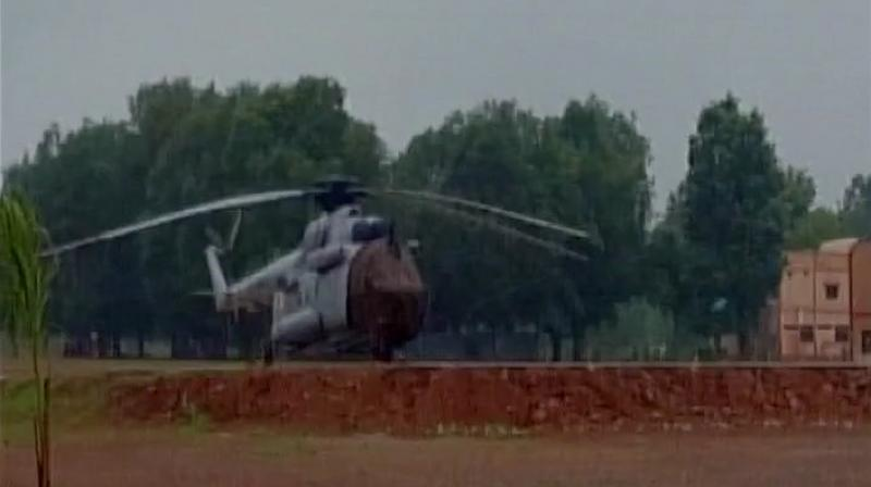 Indian Air Force (IAF) helicopter sent to rescue soldiers. (Photo: Twitter | ANI)