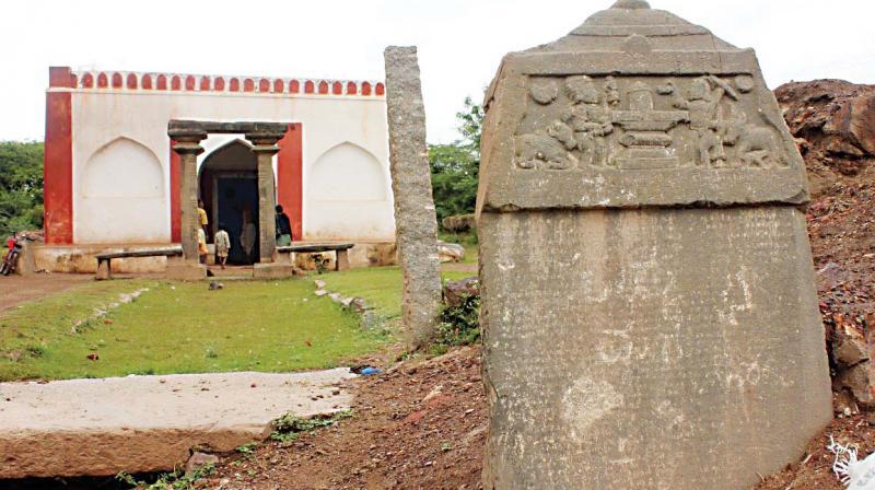 Ancient Shambhulinga temple with an inscription