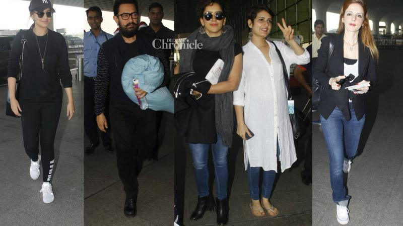 Numerous Bollywood celebrities were snapped arriving at the Mumbai airport on Sunday. (Photo: Viral Bhayani)