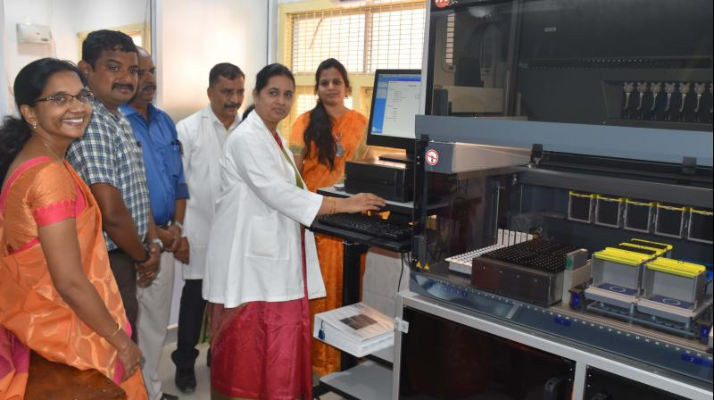 Dr Saradha dean of the Dr K.A.P. Viswanatham Government Medical College hospital Tiruchy inaugurates the HIV Viral Load Testing Center at Tiruchy on Thursday.