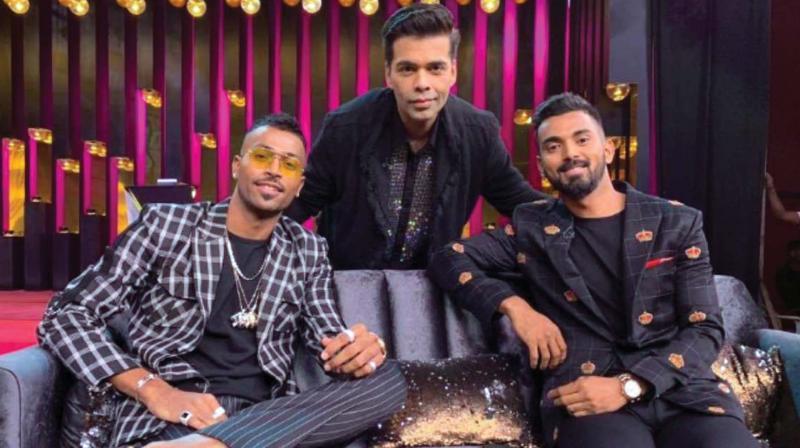 Hardik Pandya, Karan Johar and  KL Rahul
