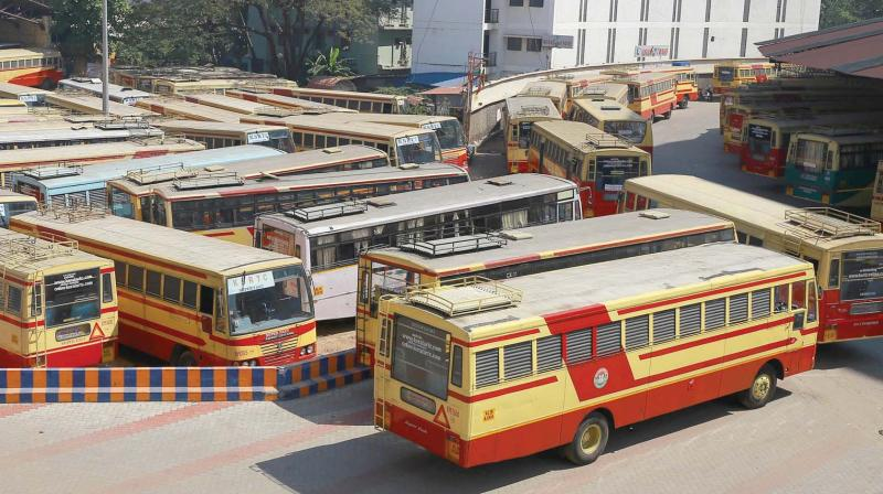 Buses lying idle at the KSRTC bus terminal in Thiruvananthapuram on Wednesday during the two day general strike.  (A.V. MUZAFAR)