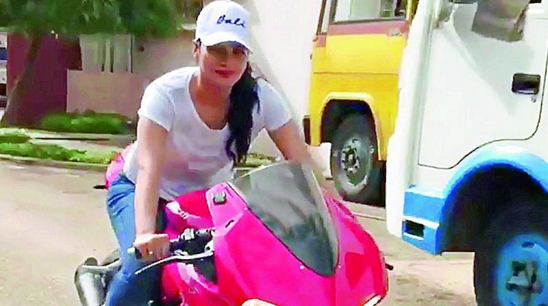 Tanya Hope riding a bike.