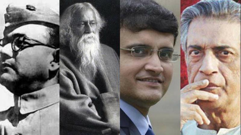 Bengalis take fierce pride in their icons (from left to right) Netaji Subhas Chandra Bose, Rabindranath Tagore, Sourav Ganguly and Satyajit Ray.