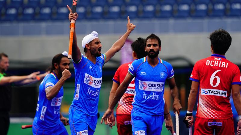 Mandeep found the target in the 9th, 29th and 30th minutes while Nilakanta Sharma (3rd), Nilam Sanjeep Xess (7th) and Gurjant Singh (41st) were the other scorers for India. (Twitter/Hockey India)