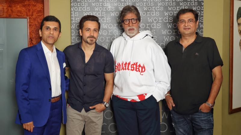 Anand Pandit, Emraan Hashmi, Amitabh Bachchan and Director Rumi Jaffrey.