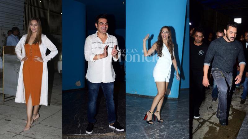 Sonakshi Sinha, Arbaaz Khan, Malaika Arora Khan and Salman Khan pose for the shutterbugs before entering the party at a posh location in Mumbai.