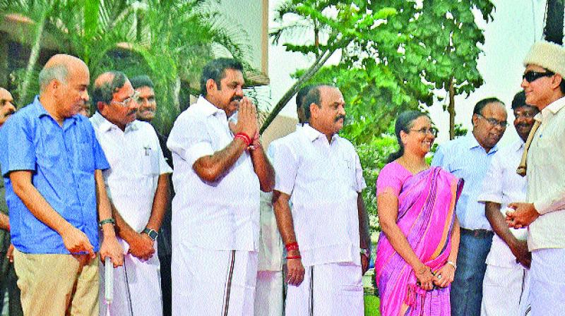 Chief Minister Edappadi K. Palaniswami at the launch of the biopic on late  M.G. Ramachandran in the city on Friday. (Photo: DC)