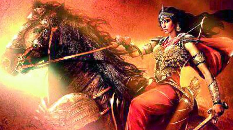 Sangamithra poster features a concept art of Shruti, who plays a warrior princess in the film, riding a horse with a sword in hand.