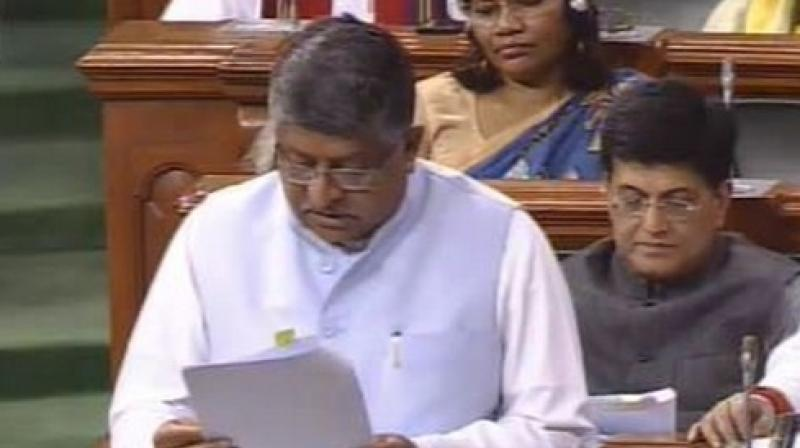 The Repealing and Amending Bill, 2019, was introduced by Law Minister Ravi Shankar Prasad who said that the BJP-led government has already repealed 1458 obsolete Acts.  (Photo: LSTV)