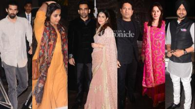Zaheer Khan and Sagarika Ghatge hosted a cocktail bash for celebrities from cricket and film industries after registering their marriage earlier in the day on Thursday. (Photo: Viral Bhayani)