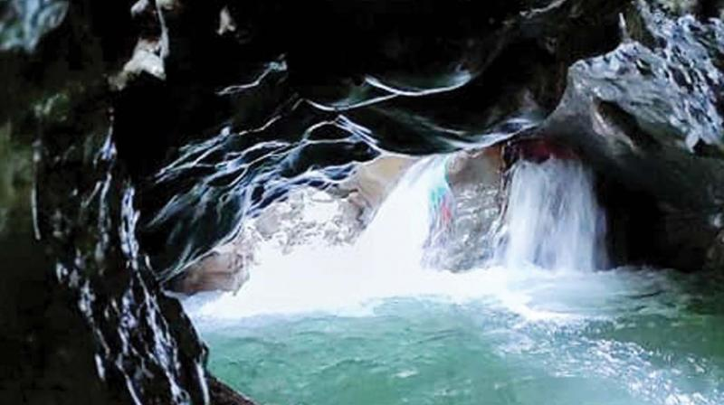 One of the waterfalls in the cave