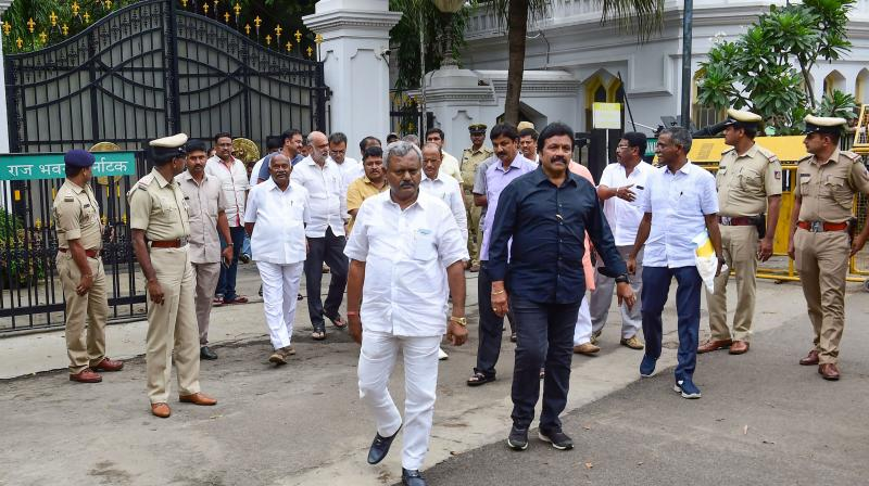 Nine Congress MLAs and three of JDS went to the Speaker's office to put in their papers on Saturday and later met Governor Vajubhai Vala at Raj Bhavan. (Photo: File)