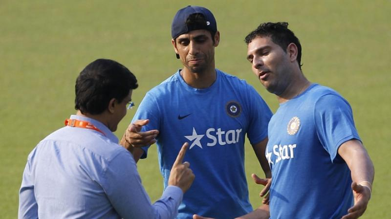"Yuvraj Singh, in an elaborated Facebook post, said, ""Sourav Ganguly gave Ashu (Ashish Nehra) the nickname Popat as he talked a lot. I mean he can talk even under water!"" (Photo: AP)"