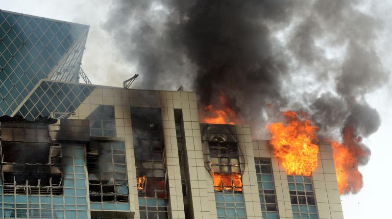 The fire broke out at the B-wing of the Beaumonde towers in South Mumbai's Prabhadevi. (Photo: Rajesh Jadhav)