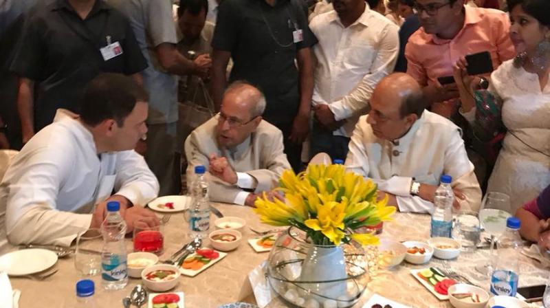 Former President Pranab Mukherjee at Congress President Rahul Gandhi's Iftar party in New Delhi. (Photo: Twitter | @INCIndia)