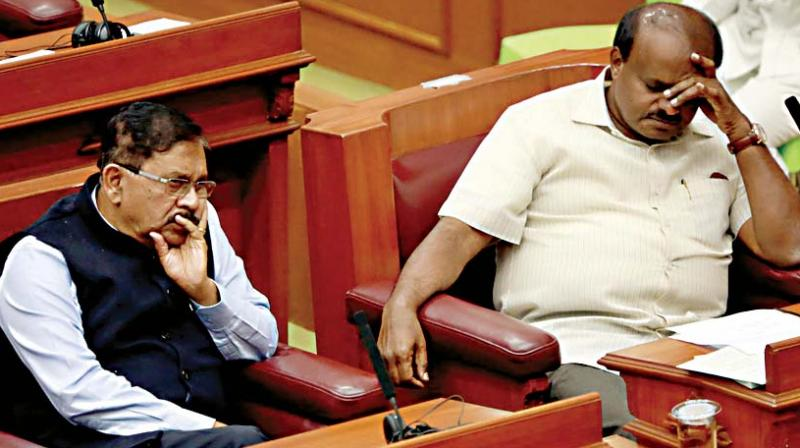 Chief Minister H.D. Kumaraswamy and Deputy CM Dr G. Parameshwar during the winter session of the legislature in Belagavi on Tuesday