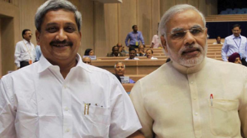 Goa Chief Minister Manohar Parrikar with Prime Minister Narendra Modi (Photo: PTI)
