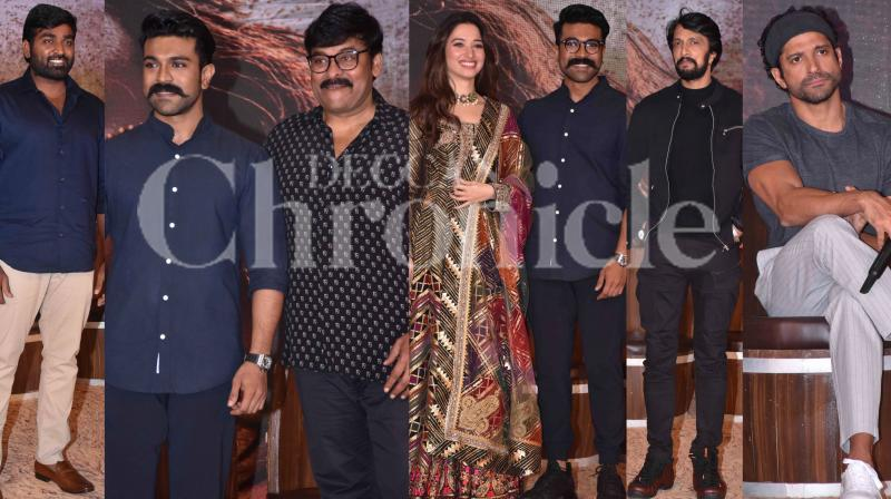 The team of 'Sye Raa Narasimha Reddy' unveiled the teaser of the film at the grand launch event. The actors of the film present at the event were Kichcha Sudeep, Vijay Sethupathi, Dr. Chiranjeevi, Ravi Kishan and Tamannaah. The director, Surrender Reddy and producers, Farhan Akhtar and Ritesh Sidhwani, as well as Ram Charan, were also present at the star-studded event. (Photos: Viral Bhayani)